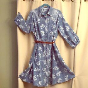 18W Spring denim blue dress with leather belt